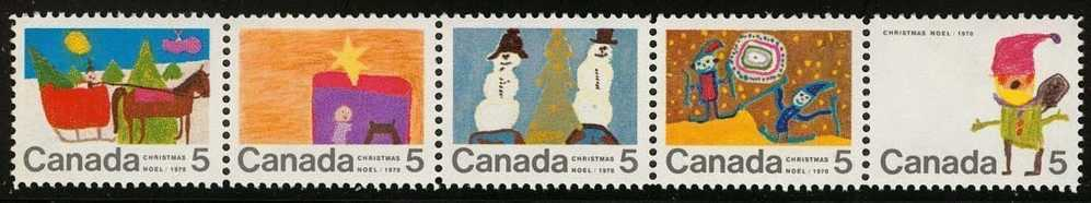Canada (Scott No. 523a - Noel / 1970 / Christmas) [**] Bande / Strip - 1952-.... Règne D'Elizabeth II