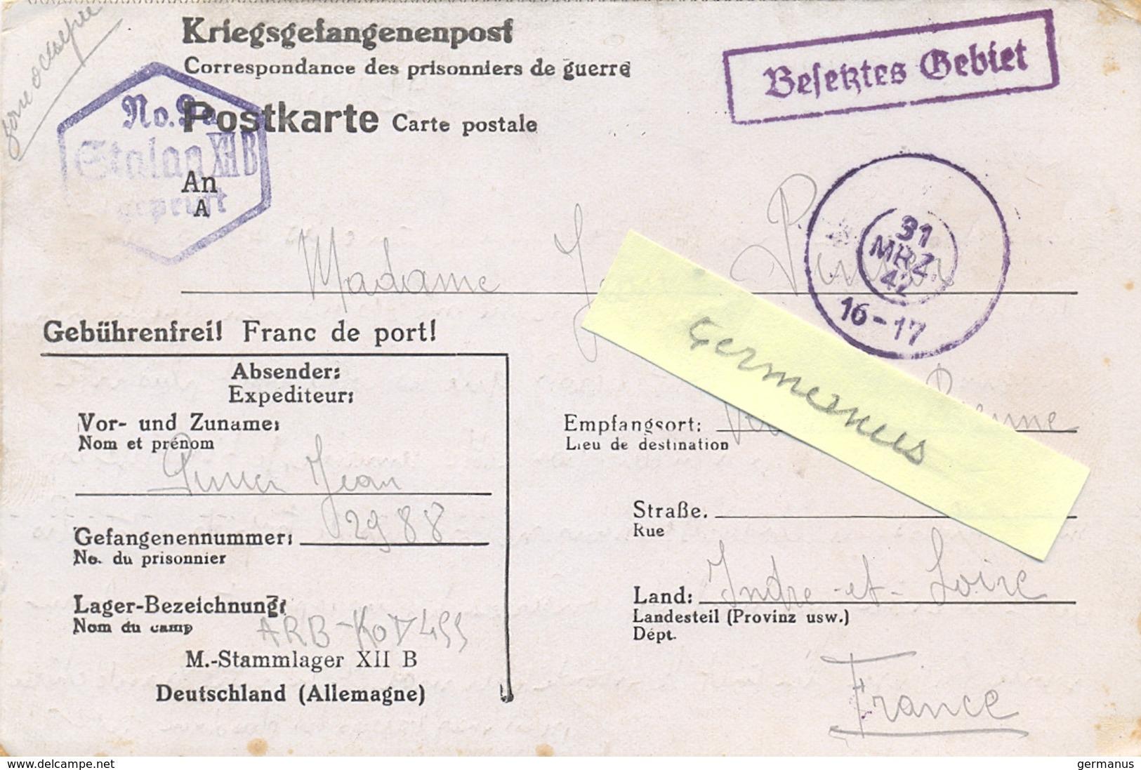 GUERRE 39-45 CORRESPONDANCE PRISONNIER DE GUERRE Français Au STALAG XII B  Frankenthal/Palatinate -  Rédigé Le 22-3-1942 - Marcophilie (Lettres)