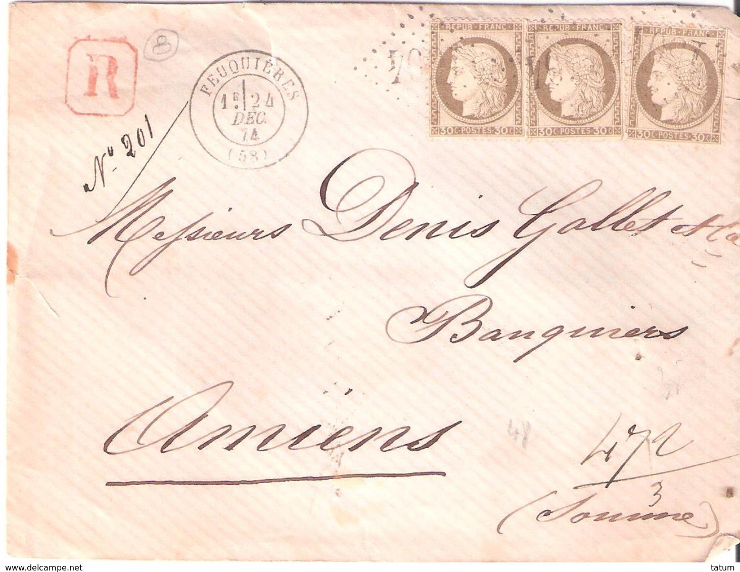 Oise :- FEUQUIERES G.C.1504 Dateur Type 17 Sur Devant Lettre Recommandée - Marcophilie (Lettres)
