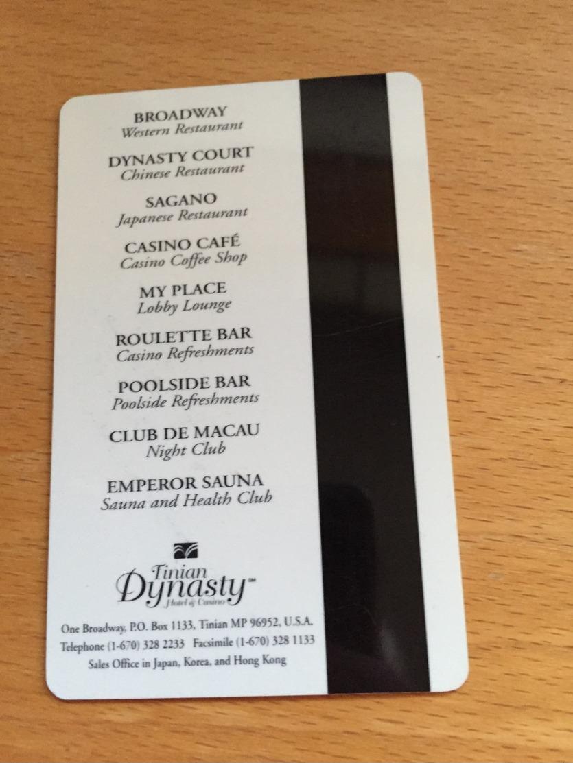 Hotelkarte Room Key Keycard Clef De Hotel Tarjeta Hotel   TINIAN DYNASTY  TINIAN - Télécartes