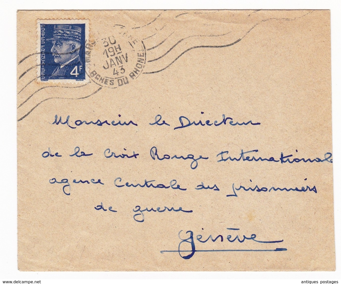 Lettre 1943 Marseille Bouches Du Rhône Timbre Pétain 4F Suisse Croix Rouge Internationale Génève Censure Censor WW2 - 1941-42 Pétain