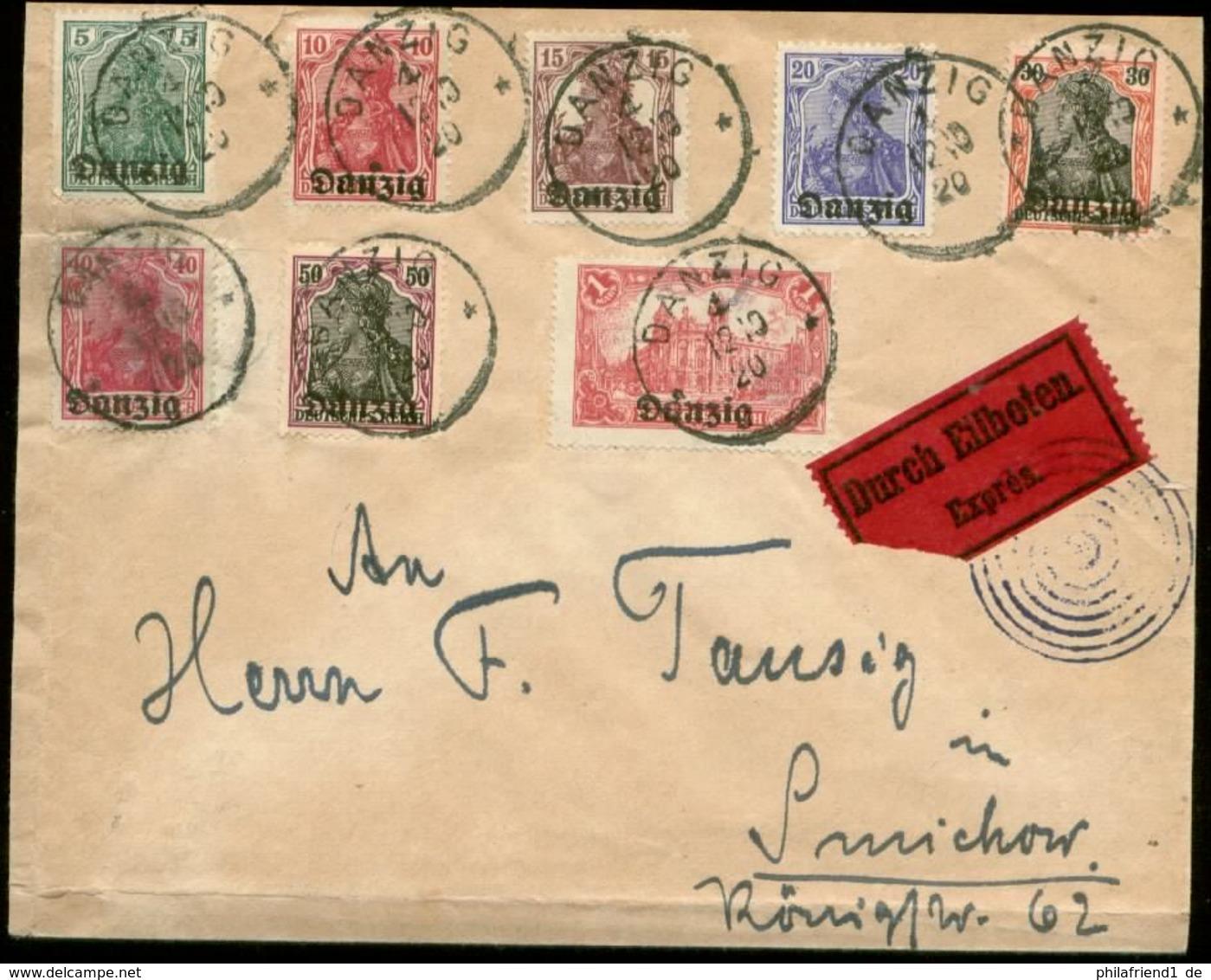 S8208 - Danzig Nr. 1-8 Auf Briefumschlag : Gebraucht Danzig 1920, Bedarfserhaltung. - Danzig