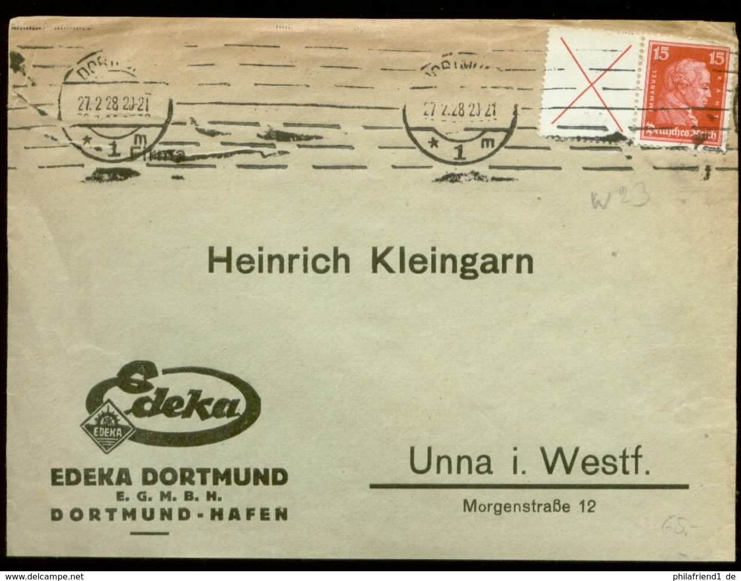 S8210 - DR Zdr. W23 Auf Firmen Briefumschlag Edeka 130 EM: Gebraucht Dortmund - Unna 1928, Bedarfserhaltung. - Covers & Documents