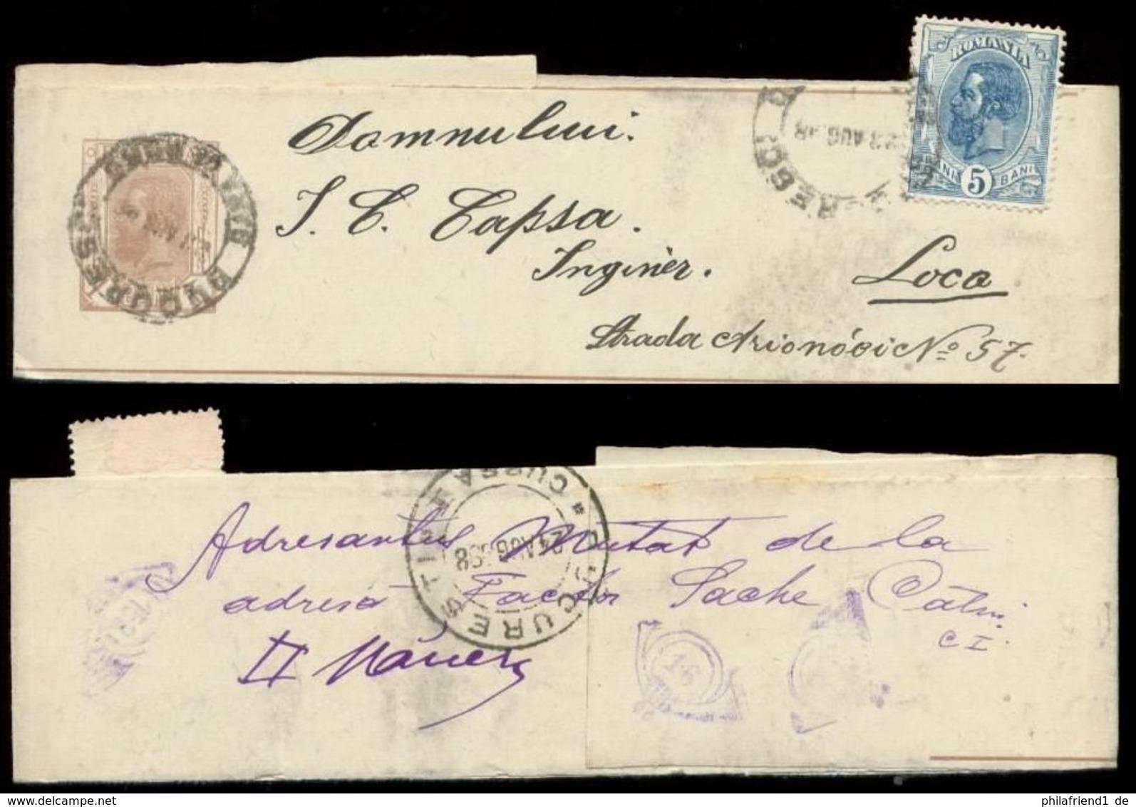 S8252 Rumänien GS Streifband + Marke: Gebraucht Bukarest - Loca 1898 , Bedarfserhaltung. - 1881-1918: Charles I