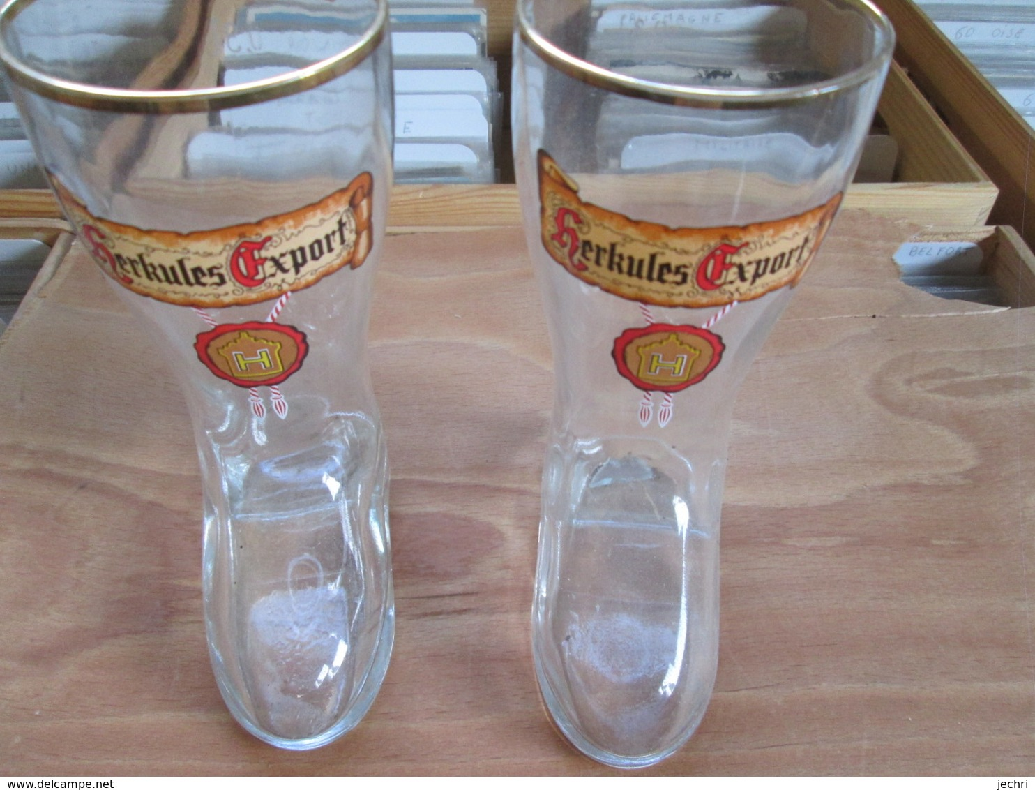 2 Verres Style Bottes . Herkules Export - Gläser