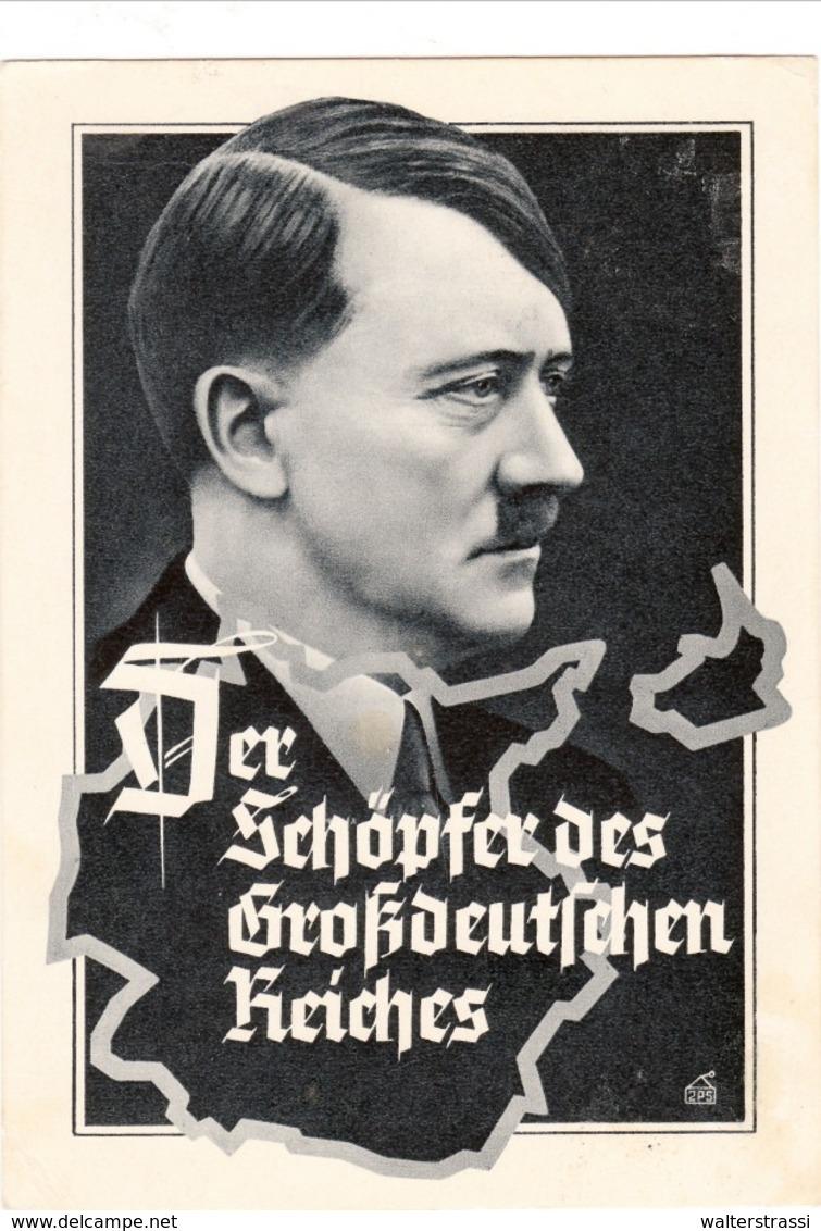 """Propaganda Karte, Der SCHÖPFER Des Großdeutschen Reiches, Stempel """" Grenzlandtreffen THEBEN """" - Weltkrieg 1939-45"""