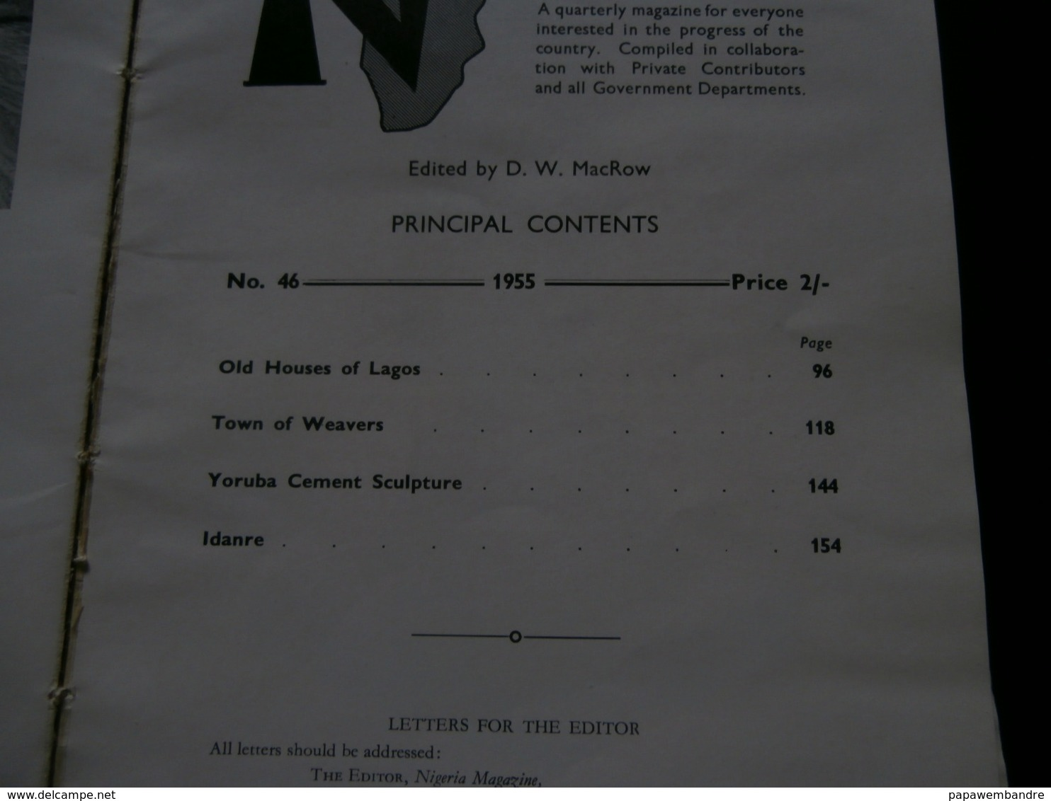 Nigeria 46 (1955) Lagos, Yoruba, Iseyin, Idanre, Ulli Beier, C B Dodwell, Murray - Geschiedenis