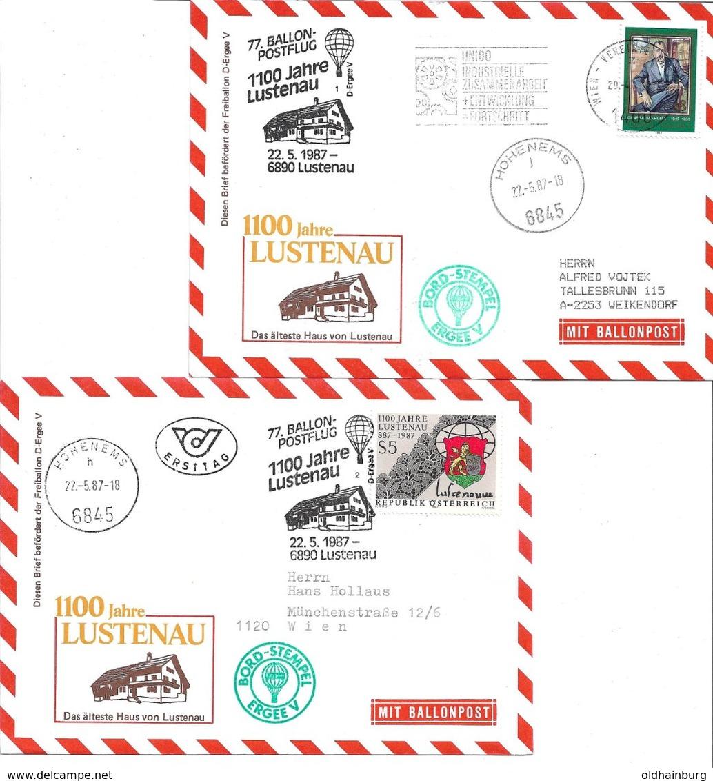 1658i: Zwei Ballonpost- Belege 1987 Für Heimatsammler 6845 Hohenems, 1000 Jahre 6890 Lustenau - Lustenau