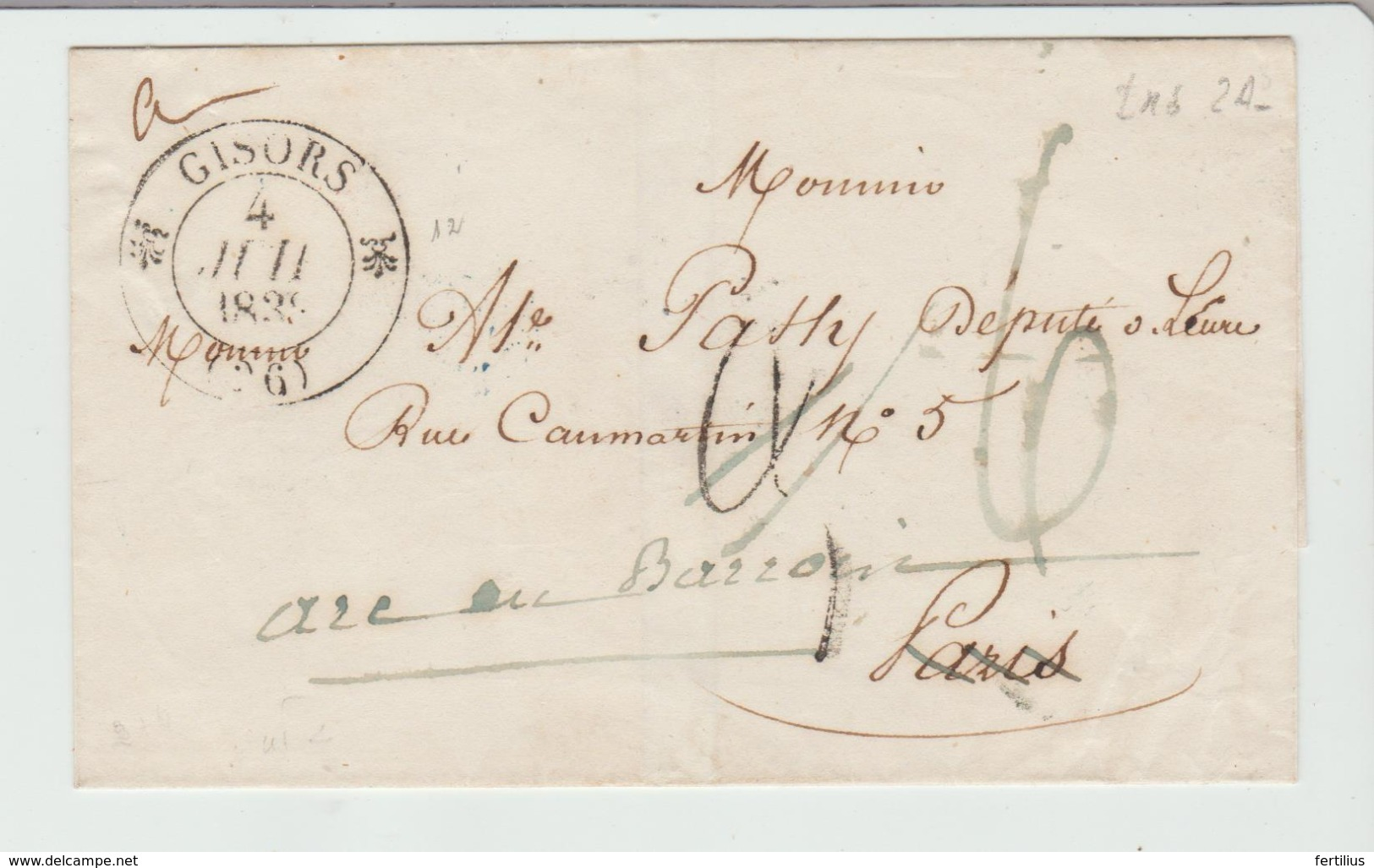 """.EURE : """" GISORS """" CàD Type 12 + TT 3 Corrigée à 6 / LSC De 1839 > Paris T B - 1801-1848: Precursors XIX"""