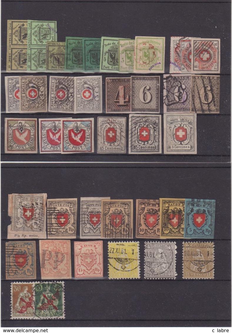 SUISSE : + DE 35 EX . FAUX . FAC SIMILE . TRUQUES . 1843/1880 . - Variétés