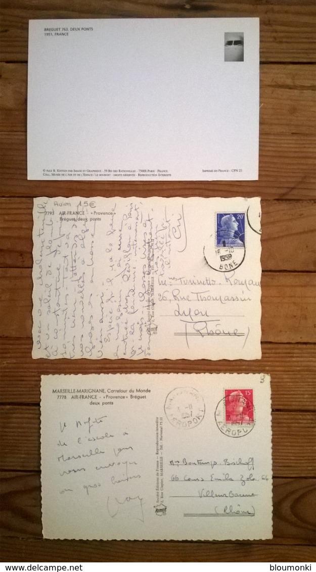 """Lot De 3 Cartes Postales / AVION /  AIR FRANCE BREGUET Deux Ponts """"Provence"""" - Avions"""