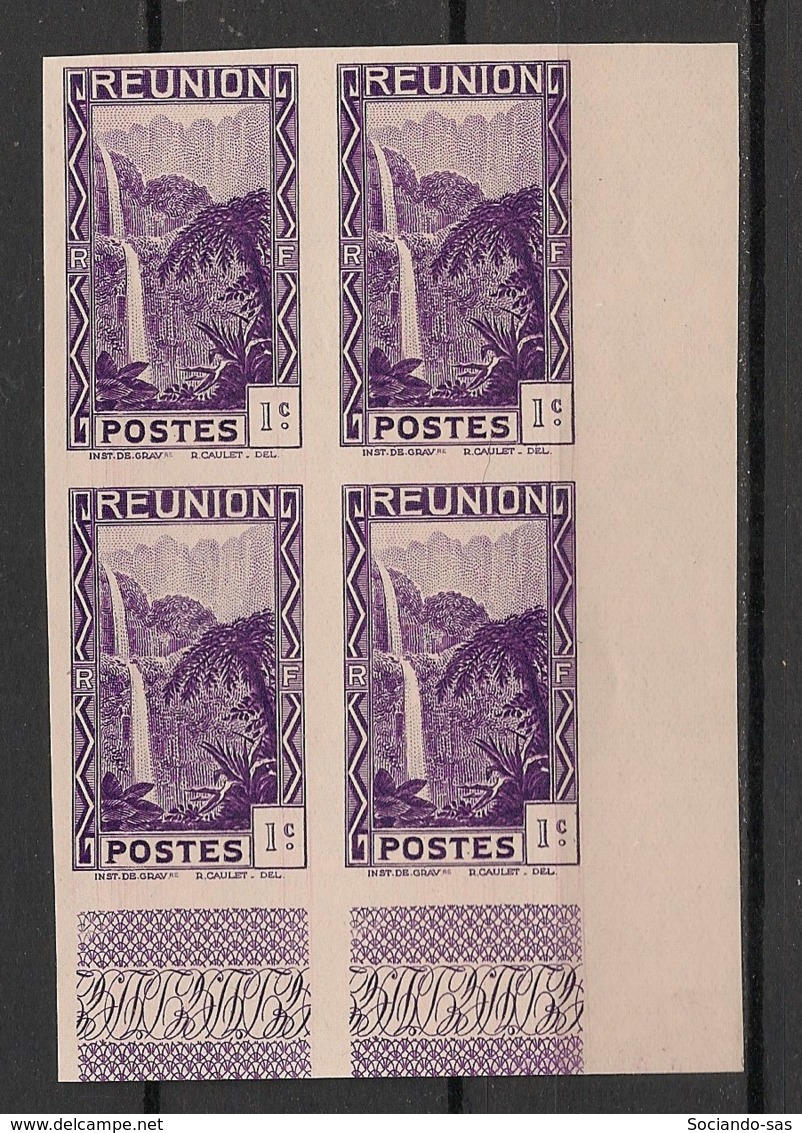 Réunion - 1933 - N°Yv. 125a - Cascade 1c - Non Dentelé / Imperf. - Bloc De 4 Coin De Feuille - Neuf Luxe ** / MNH - Réunion (1852-1975)