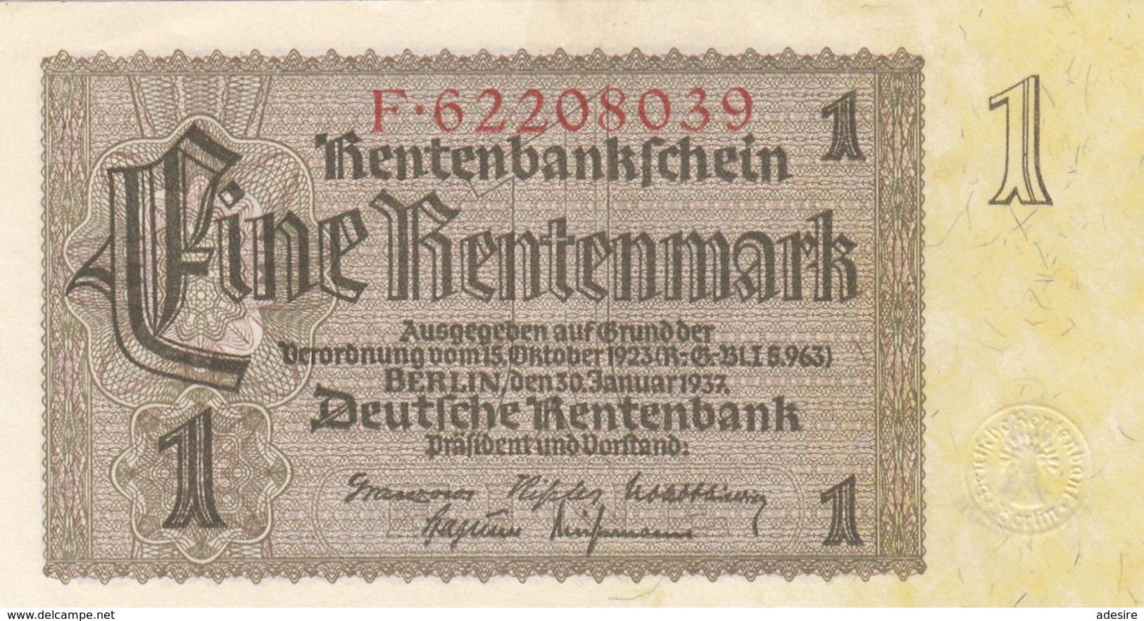 1 RENTENMARK 1937 DEUTSCHE RENTENBANK Banknote Sehr Gute Erhaltung - [ 4] 1933-1945 : Terzo  Reich