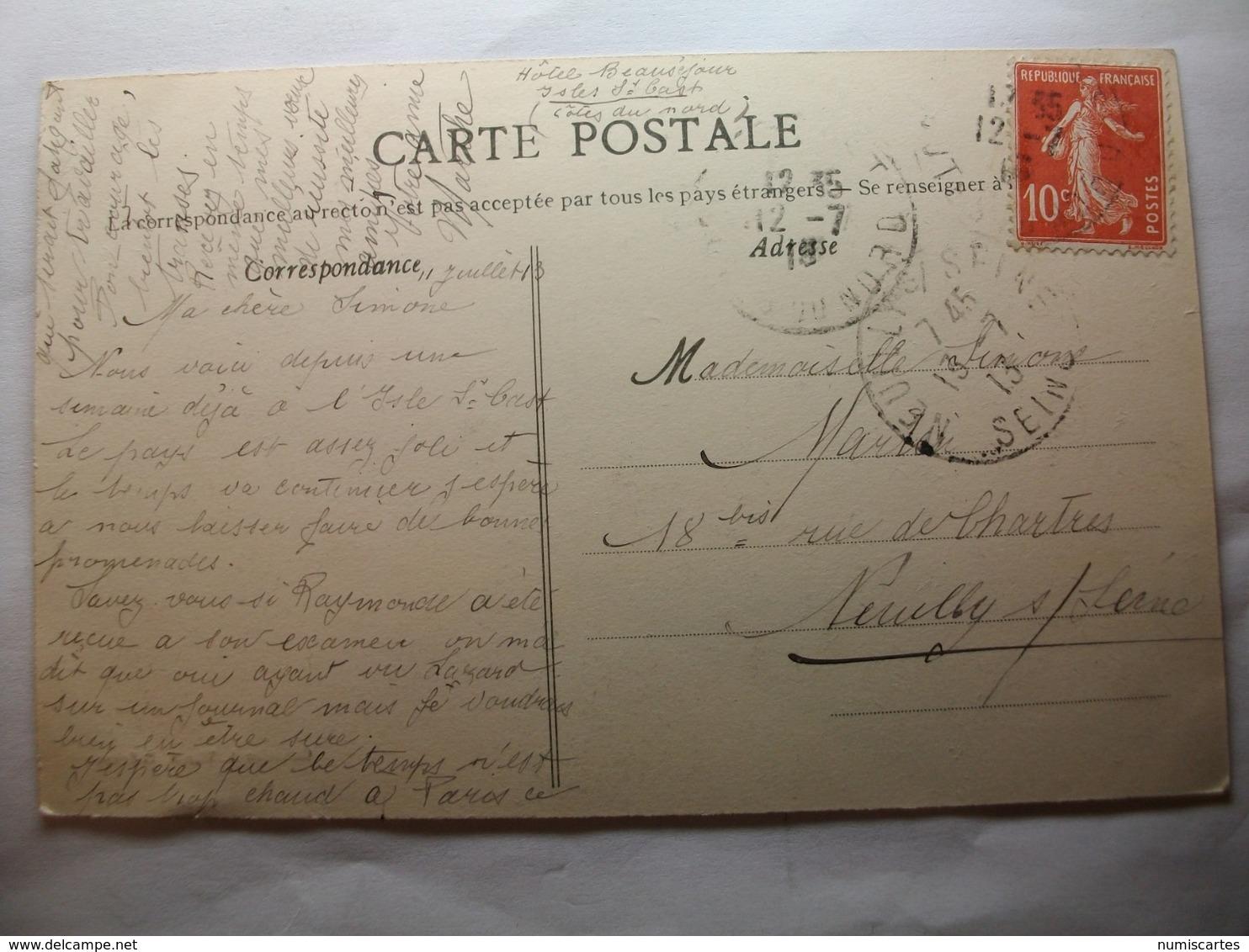 Carte Postale Saint Cast (22) Route Du Bourg à La Plage  (Petit Format Noir Et Blanc Oblitérée 1913 Timbre 10 Centimes ) - Saint-Cast-le-Guildo
