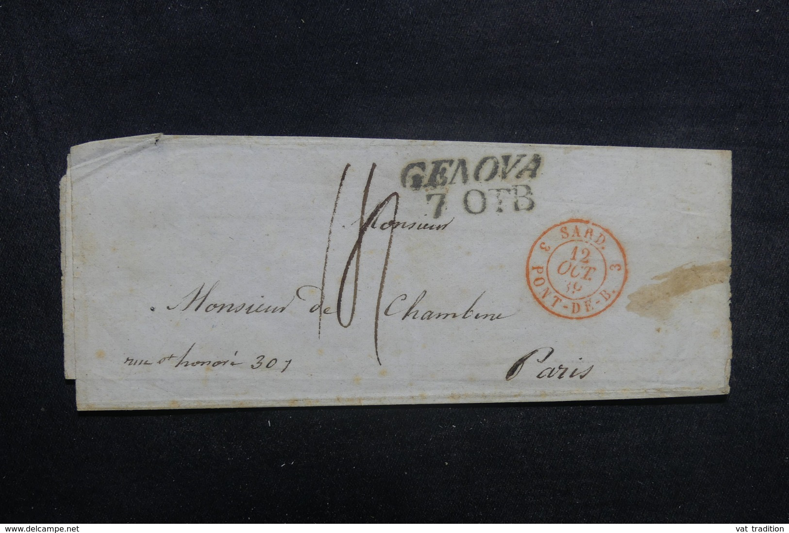 """FRANCE / ITALIE - Cachet D'entrée """" Sard. Pont-De-B. 3 """" Sur Lettre De Genova Pour Paris En 1839 - L 41912 - Storia Postale"""