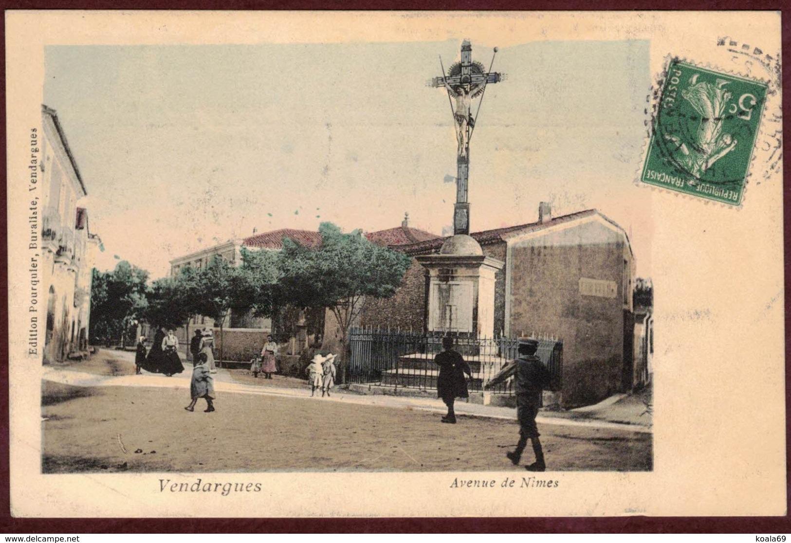 Vendargues Avenue De Nimes Animée Monument Croix - Hérault 34740 - Vendargues Canton Le Crès - Other Municipalities