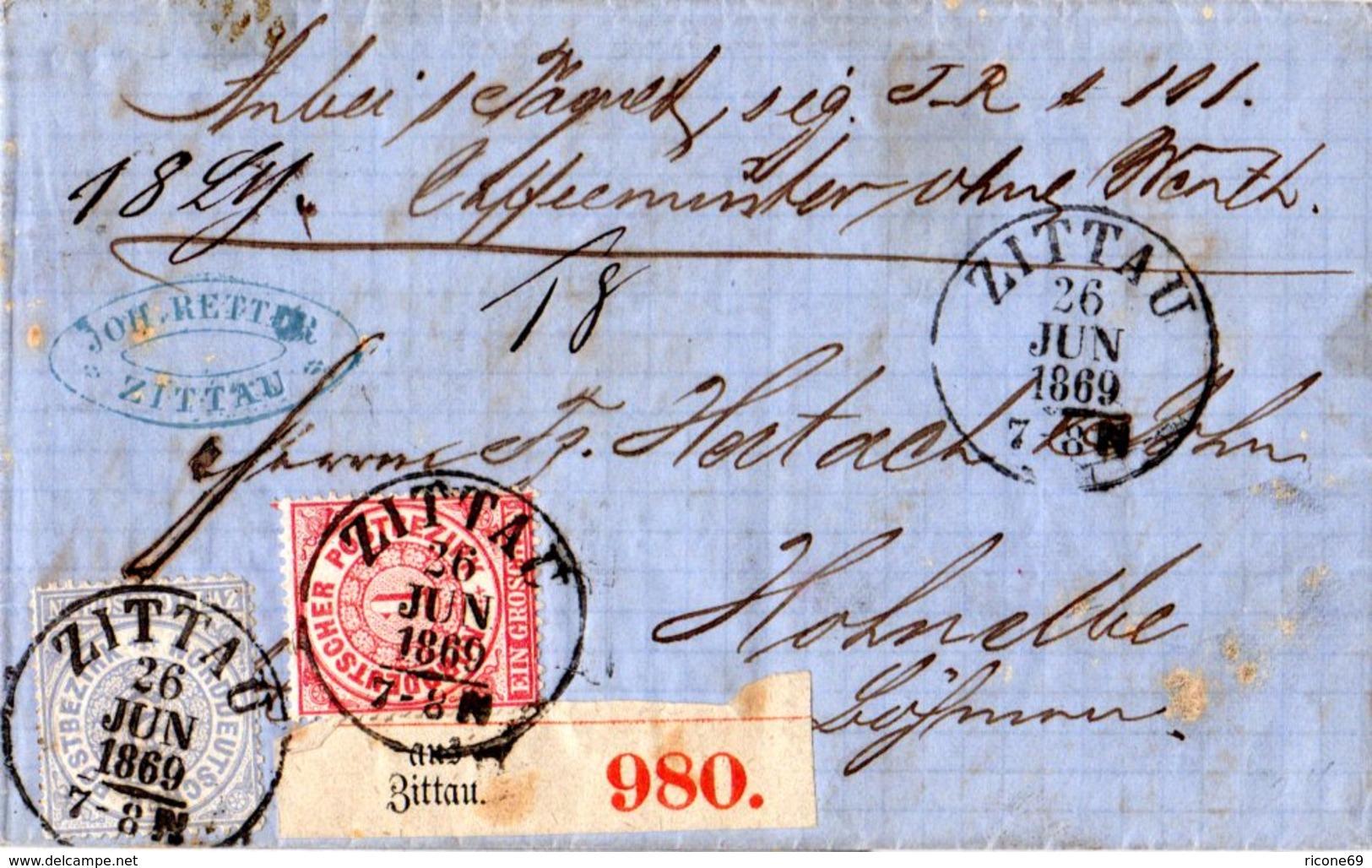 NDP 1869, 1+2 Gr. Auf Paket Brief V. Zittau Nach Österreich - Norddeutscher Postbezirk