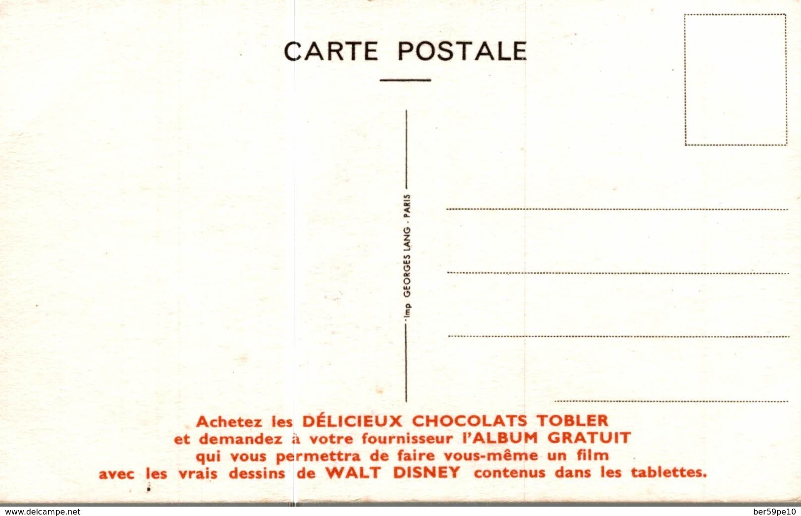 CARTE POSTALE PUBLICITAIRE CHOCOLATS TOBLER WALT-DISNEY  PROF - Autres