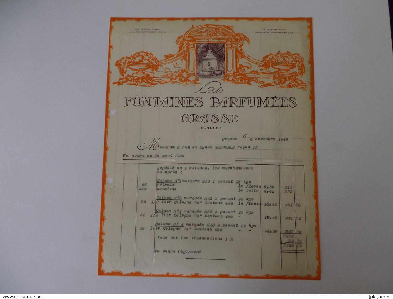 Lettre A En Tete Ancienne Parfumerie Grasse - Drogisterij & Parfum