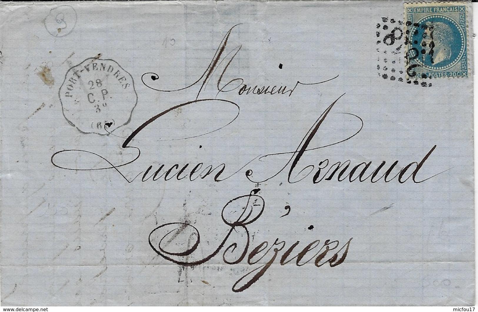 1868- Lettre Avec Cad  CONV. STATION De PORT-VENDRES -  C P  Affr. N° 29   GC 2868 - Railway Post