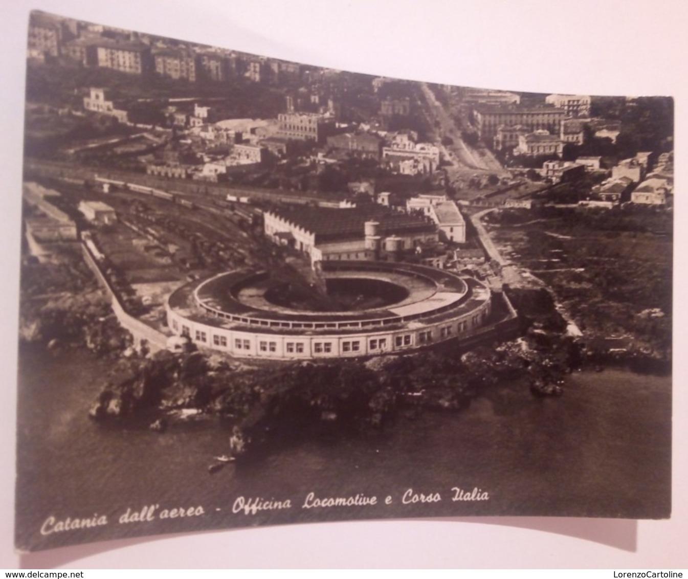 CATANIA Dall'aereo Officina Locomotive E Corso Italia VIAGGIATA 1950 - Catania
