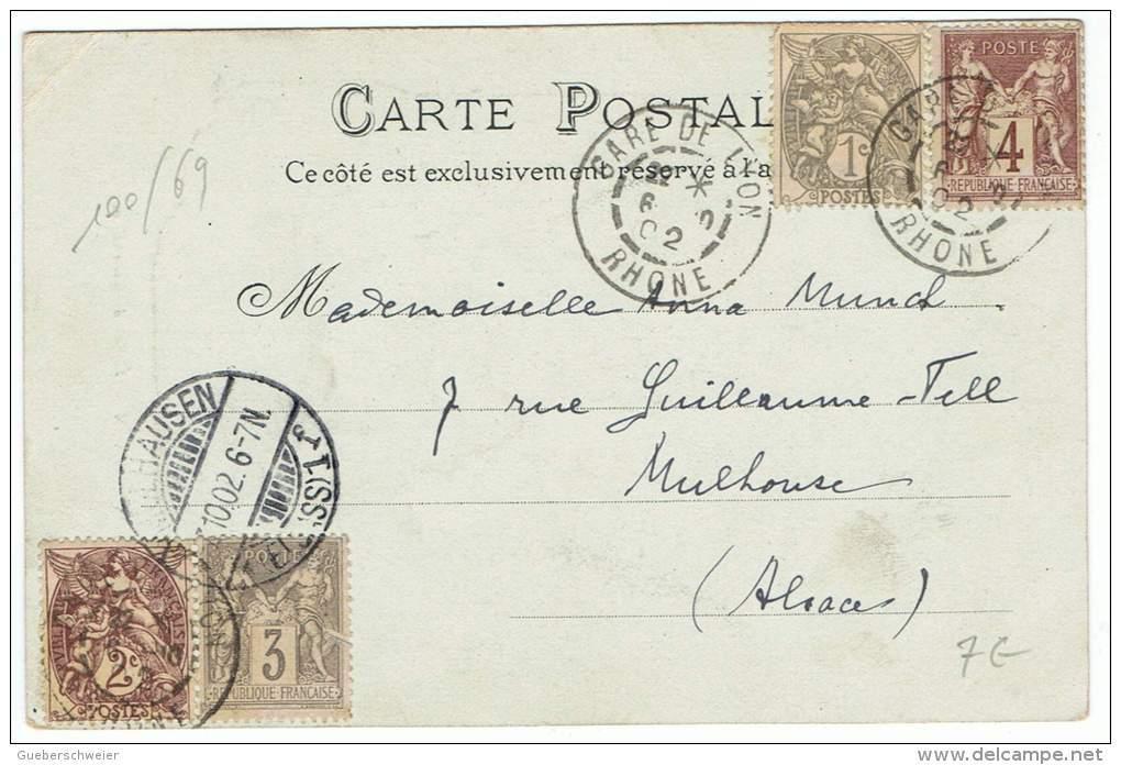 100/69 - CPA LYON - Eglise De Fourvière - BEL AFFRANCHISSEMENT TYPES SAGE ET BLANC Expédiée En Alsace - 1900-29 Blanc