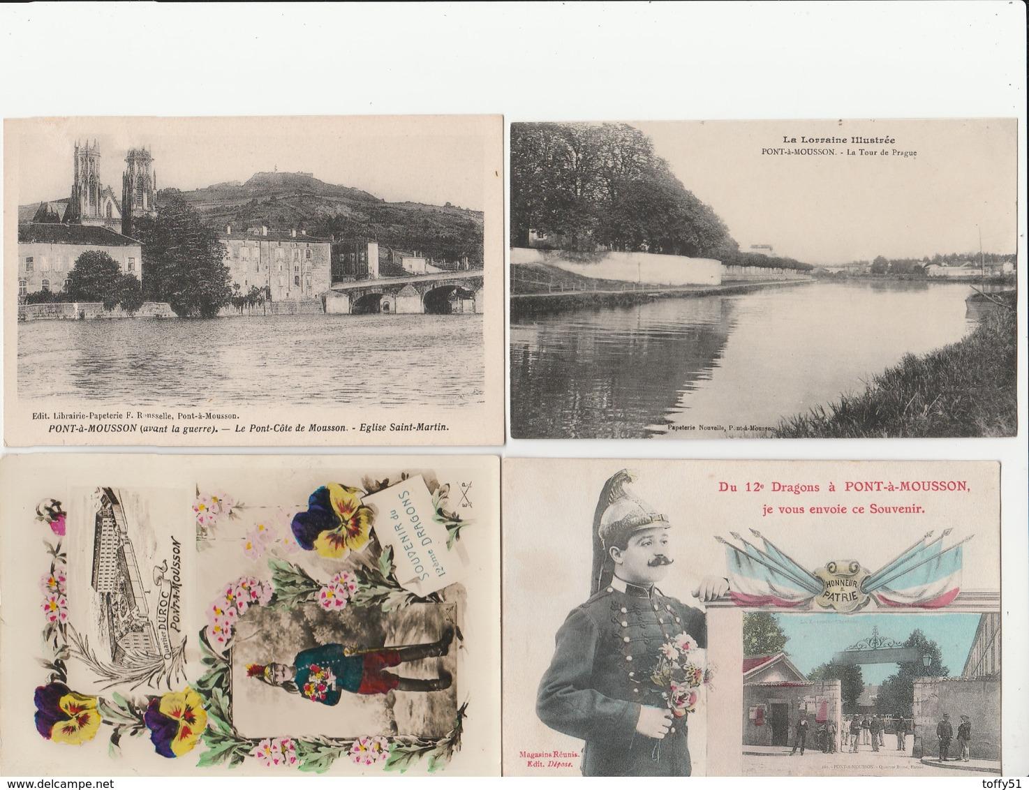 4 CPA:PONT À MOUSSON (54) TOUR DE PRAGUE,SOUVENIR PORTRAIT MILITAIRE 12e DRAGONS,SOUVENIR QUARTIER DUROC,ÉGLISE - Pont A Mousson