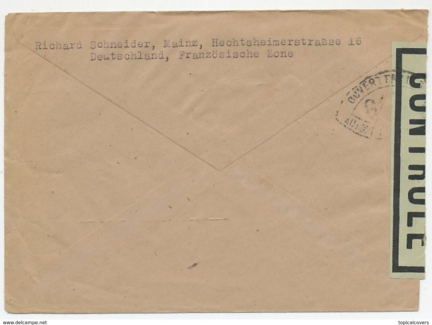Censored Cover Germany French Zone - Netherlands 1946 - Zona Francese