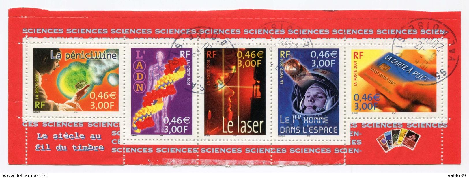 """Bande Du Bloc Feuillet YT BF39 2001 - Le Siècle Au Fil Du Timbre """"Science"""" Avec Oblitérations Du 3 Décembre 2001 - Oblitérés"""