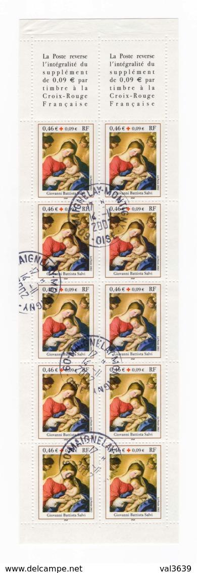 Bande Entière Carnet YT 2051 (timbres 3531a) Croix Rouge 2002 Oblitérations Du 14/11/2002 Maignelay-Montigny (60) - Carnets