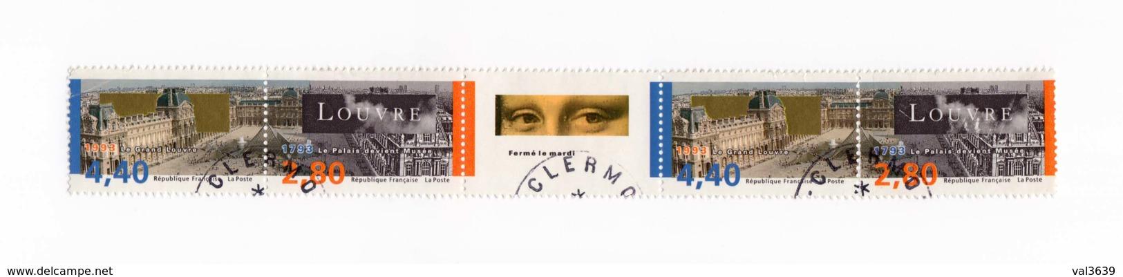 Timbres YT 2852B Oblitérés 1999 Bicentenaire De La Création Du Musée Du Louvre (2 Diptyques Et Une Vignette) - Oblitérés