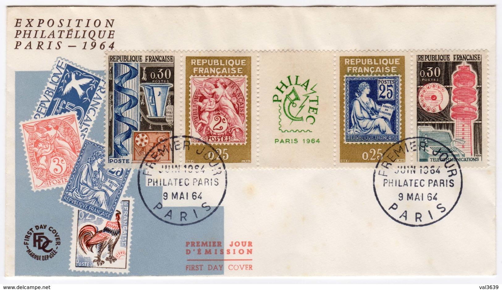 FDC 1er Jour - Exposition Philatélique Internationale PHILATEC Paris 1964 YT 1417A - 1960-1969