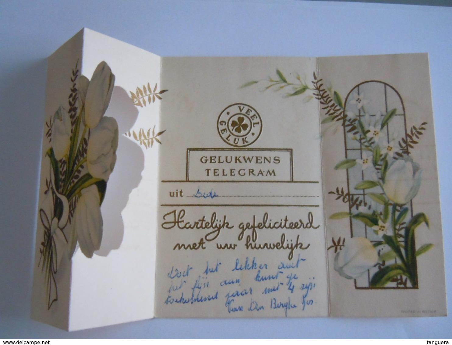Huwelijk Mariage Gelukwensch Telegram Télégramme De Bonheur Tulpen Tulipes Lede Belgium - Holidays & Celebrations