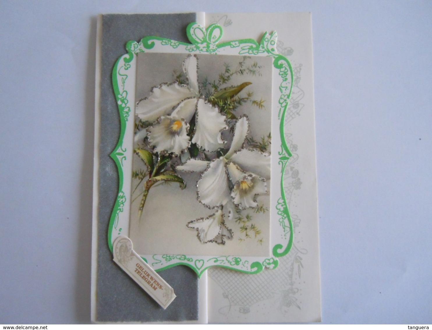 Huwelijk Mariage Geluks Telegram Télégramme De Bonheur Orchidee Pailletten Paillettes Heusden - Holidays & Celebrations