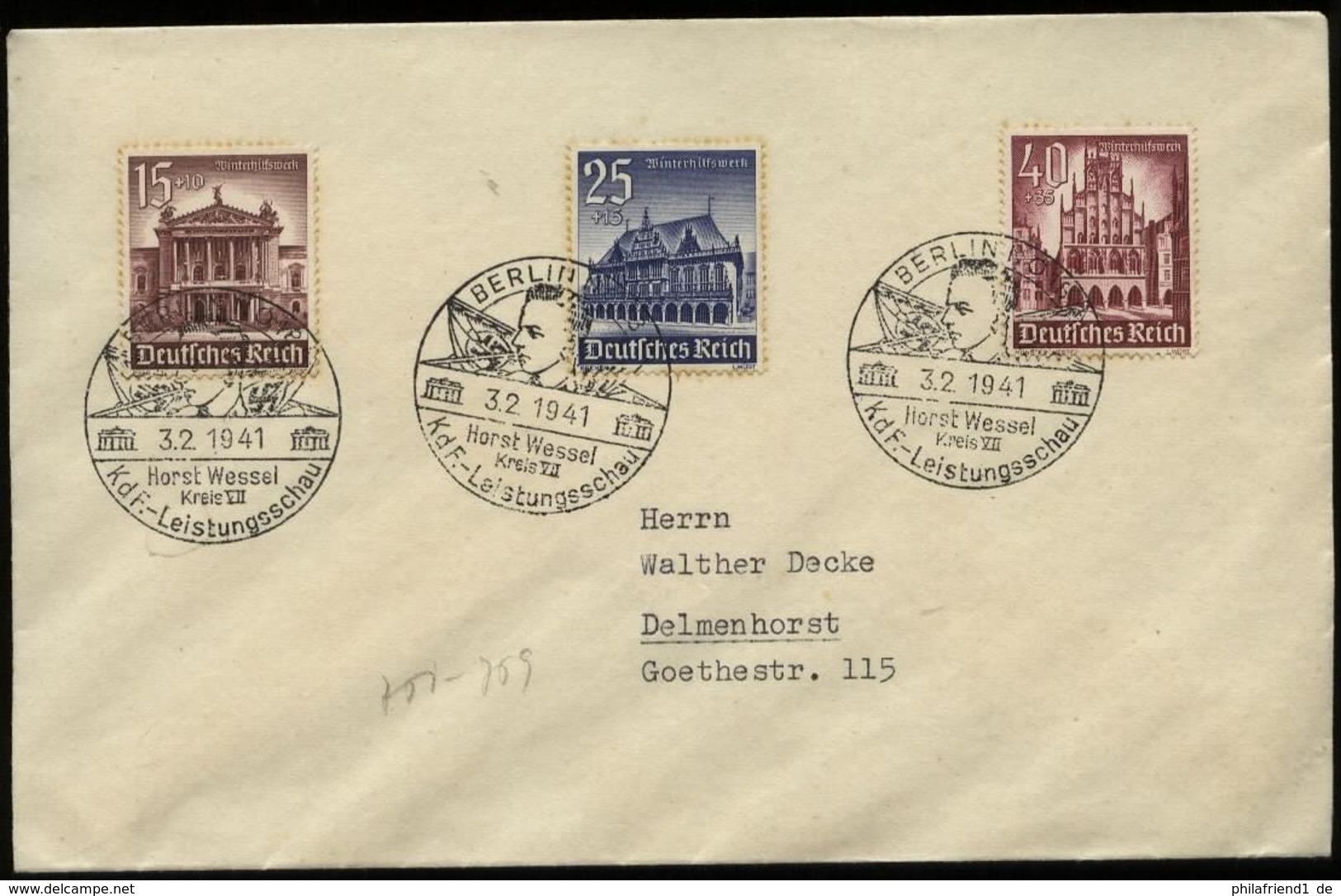 P0128 - DR Propaganda WHW Auf Briefumschlag : Gebraucht Mit KdF Sonderstempel Horst Wessel Berlin 1941 - Duitsland