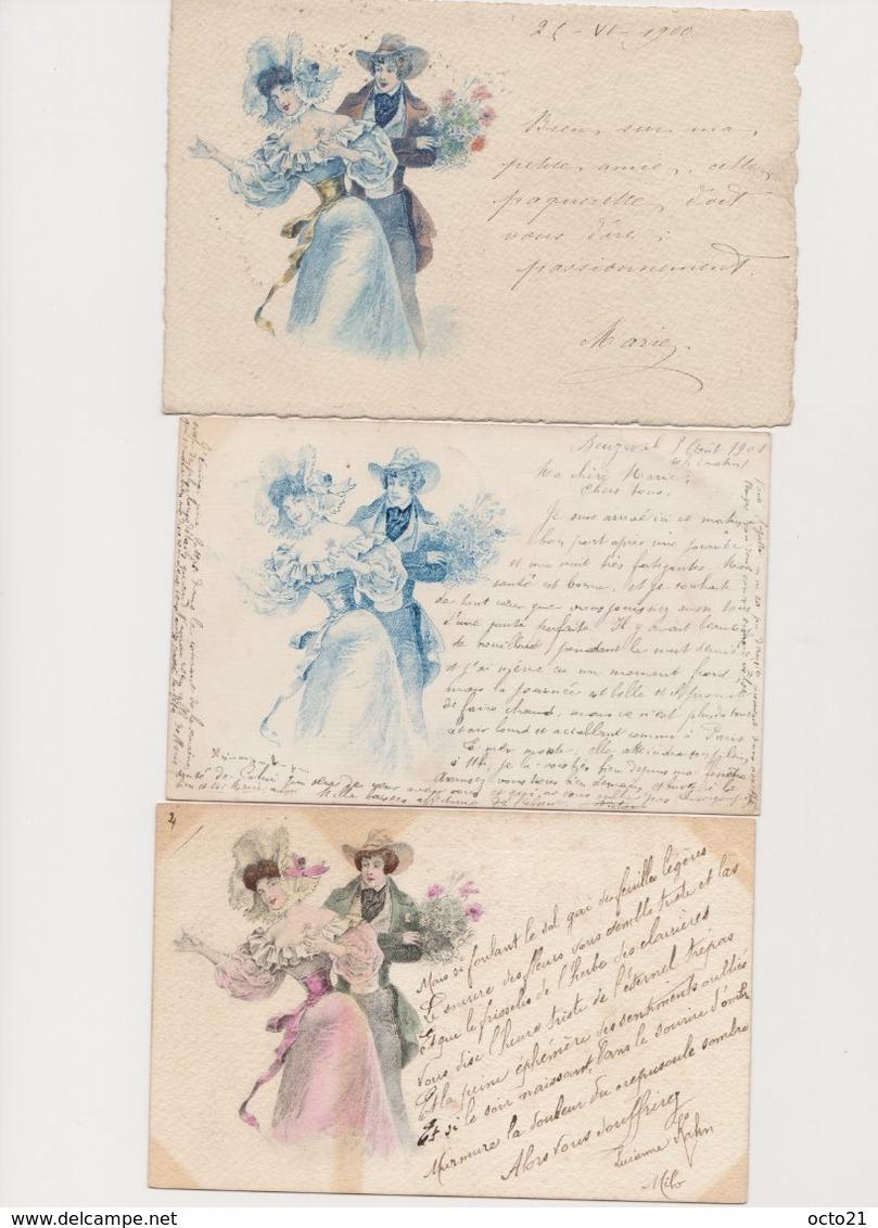 3 Cartes Fantaisie Dessinées  Style Viennoises , Même Visuel / Couple - Couples