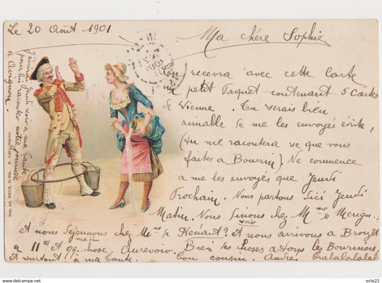 Carte Fantaisie Dessinée  / Couple / Soldat 18ème , Servante - Couples
