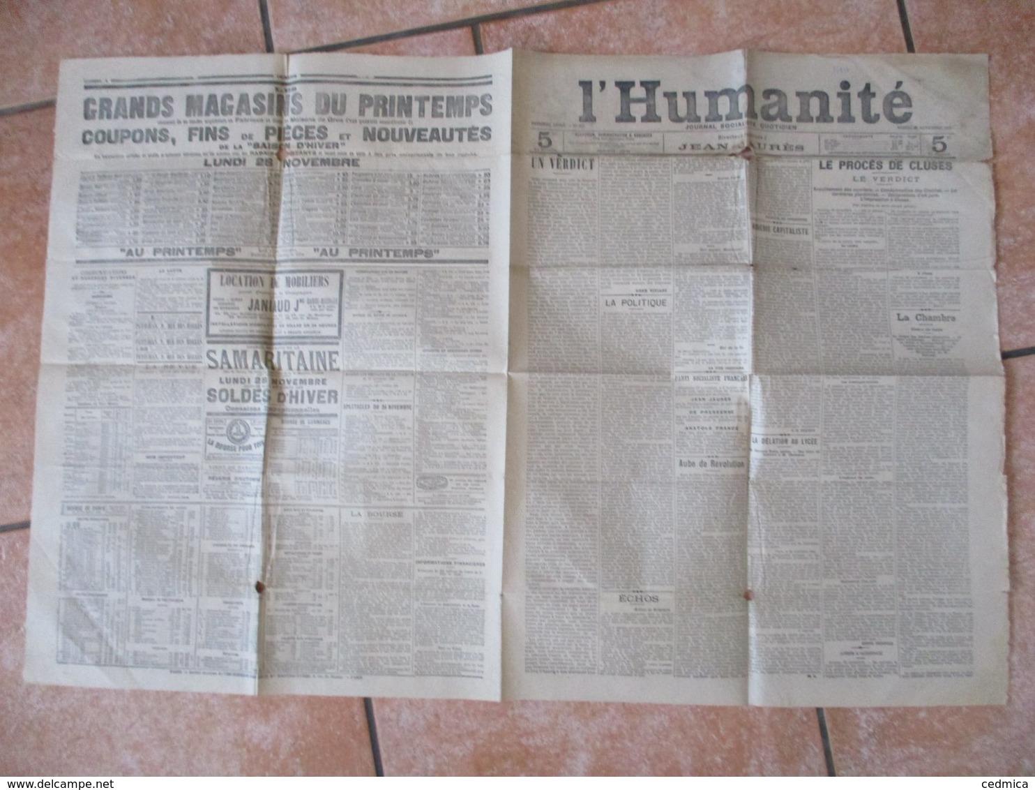 L'HUMANITE DU SAMEDI 26 NOVEMBRE 1904 DIRECTEUR POLITIQUE JEAN JAURES - Zeitungen