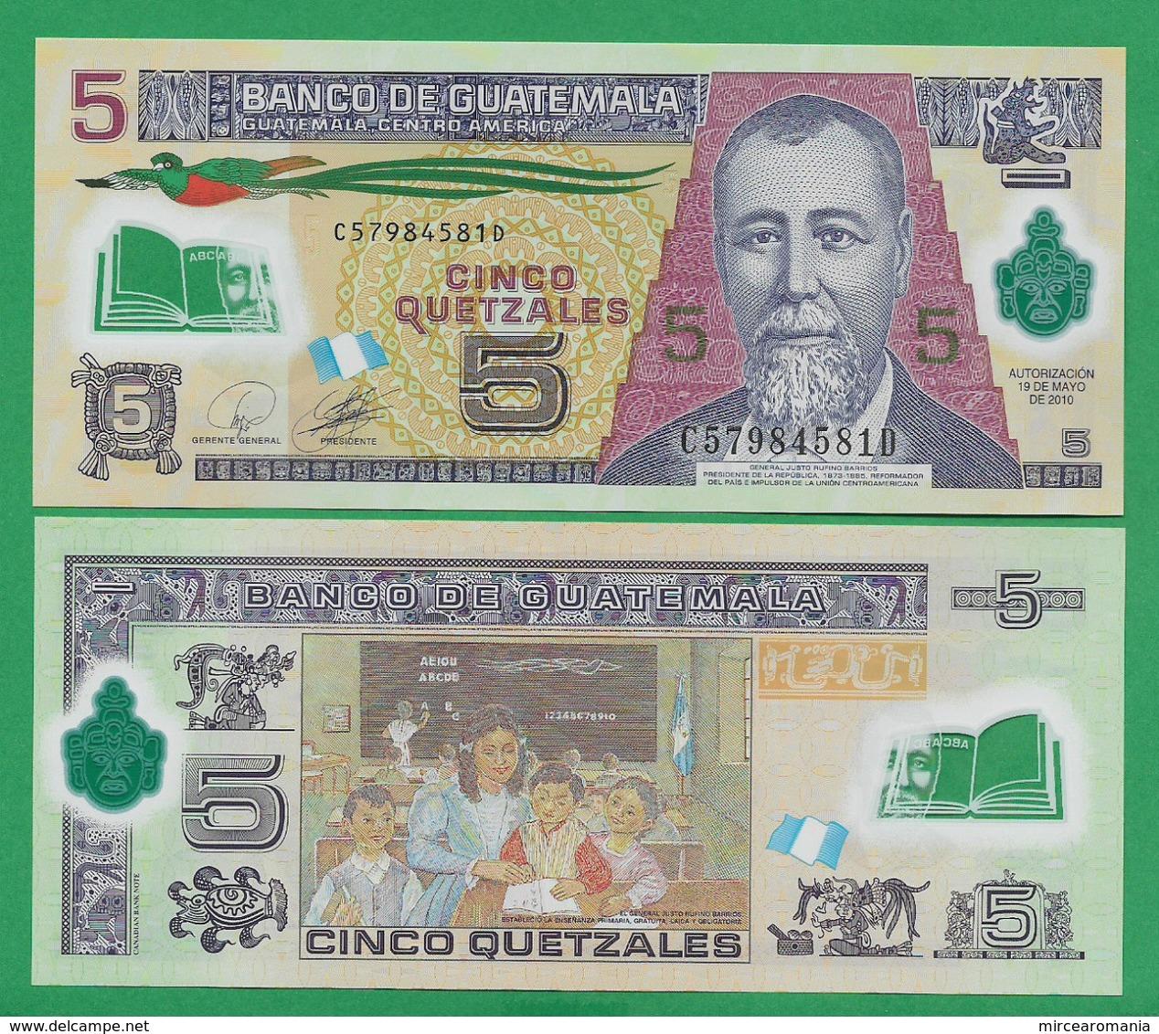 GUATEMALA - 5 QUETZALES - 2010 - UNC - POLYMER - Guatemala