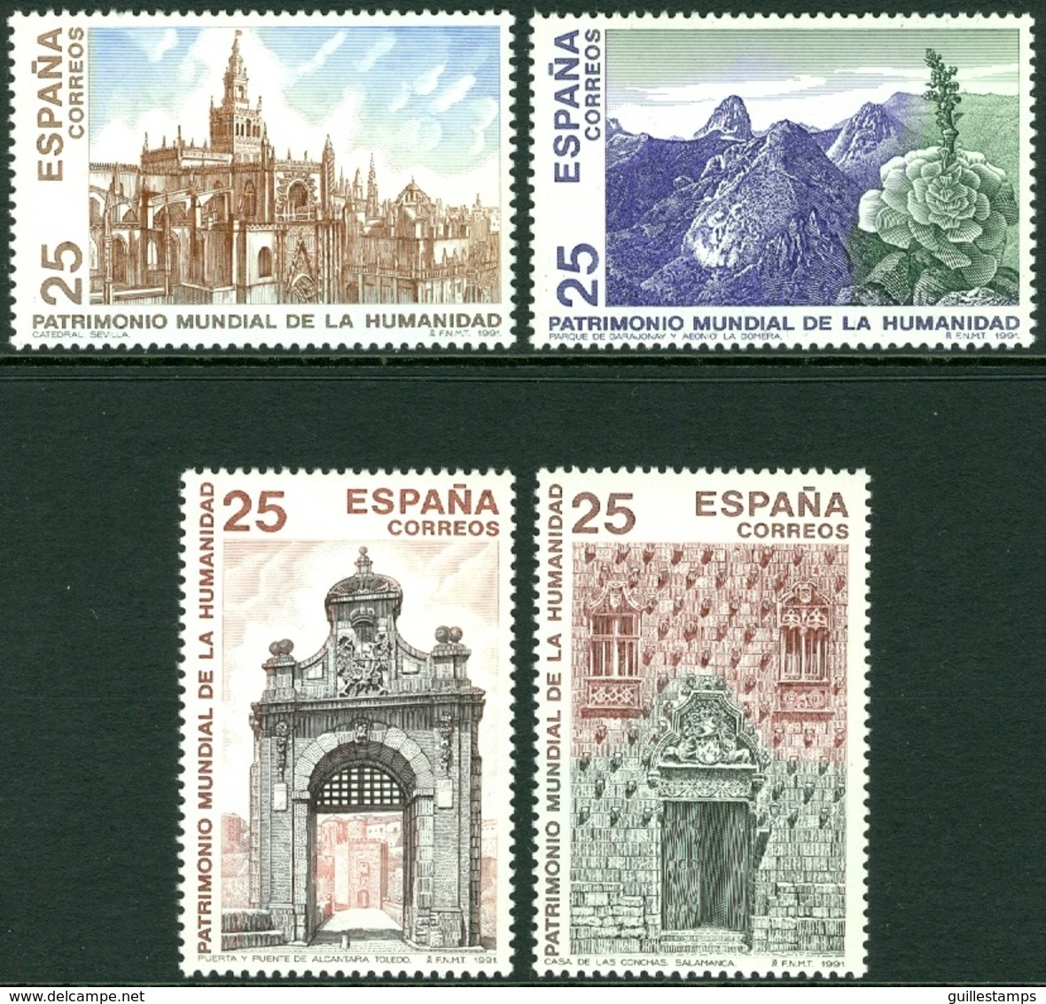 SPAIN 1991 UNESCO WORLD HERITAGE SITES** (MNH) - 1931-Hoy: 2ª República - ... Juan Carlos I