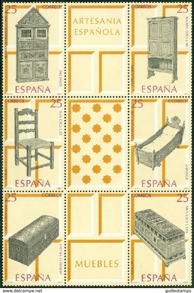 SPAIN 1991 ARTISANSHP BLOCK OF 6 PLUS 3 LABELS, FURNITURE** (MNH) - 1931-Hoy: 2ª República - ... Juan Carlos I