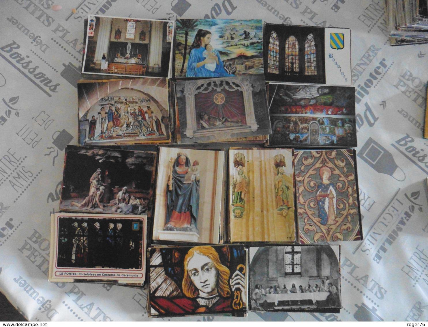 LOT  DE 1100  CARTES  POSTALES  INTERIEURS .STATUES. PEINTURES   D  EGLISES - Cartes Postales