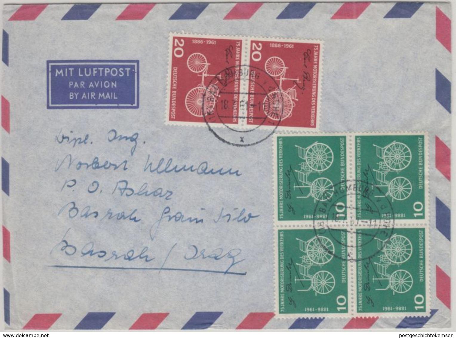 BRD - 4x10+2x20 Pfg Daimler Benz Luftpostbrief I.d. IRAQ Bad Homburg Basrah 1961 - [7] Federal Republic