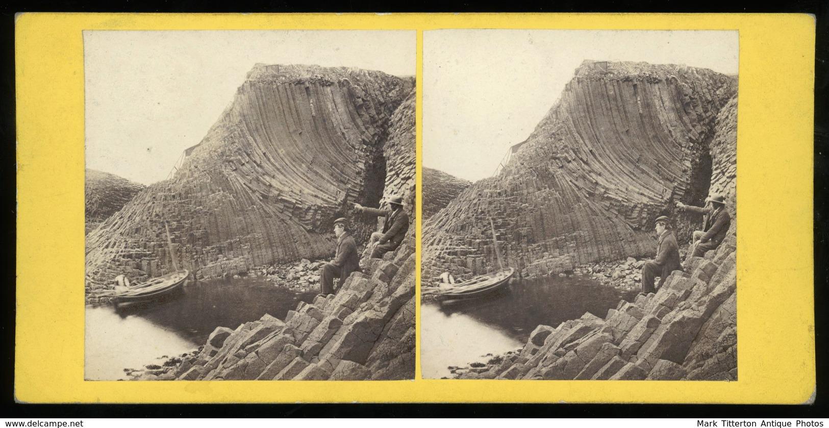 Stereoview - Clamshell Cave, Staffa SCOTLAND By G.W.Wilson - Stereoscopi