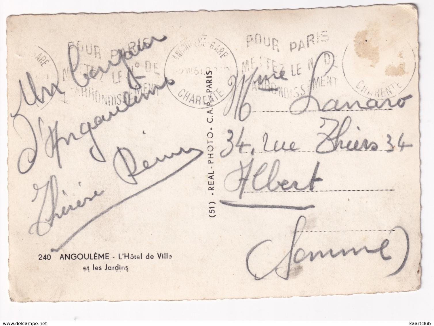Angouleme: SIMCA 5 FOURGONETTE, & 5 SEDAN, CAMION - L'Hotel De Ville Et Les Jardins - Passenger Cars
