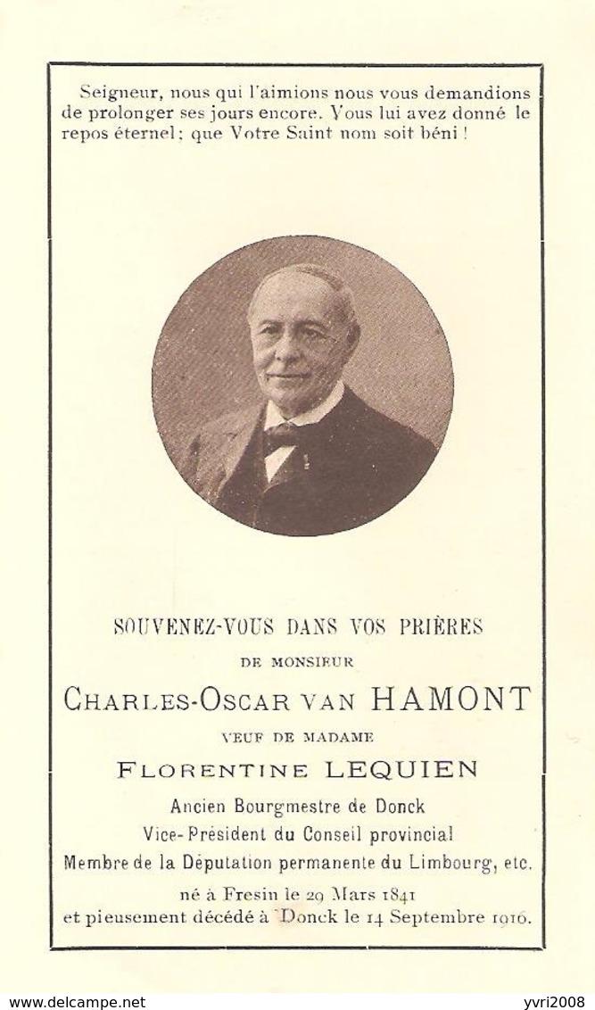 Faire-Part Mr. Charles Van HAMONT - Bourgmestre De DONCK Décédé à DONCK Le 14/09/1916. - Obituary Notices