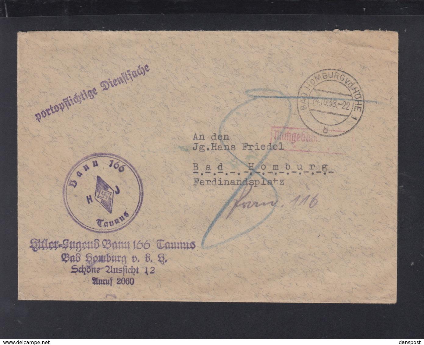 Dt. Reich Brief HJ Bann 166 Taunus Bad Homburg 1938 Vignette Kolonien - Duitsland