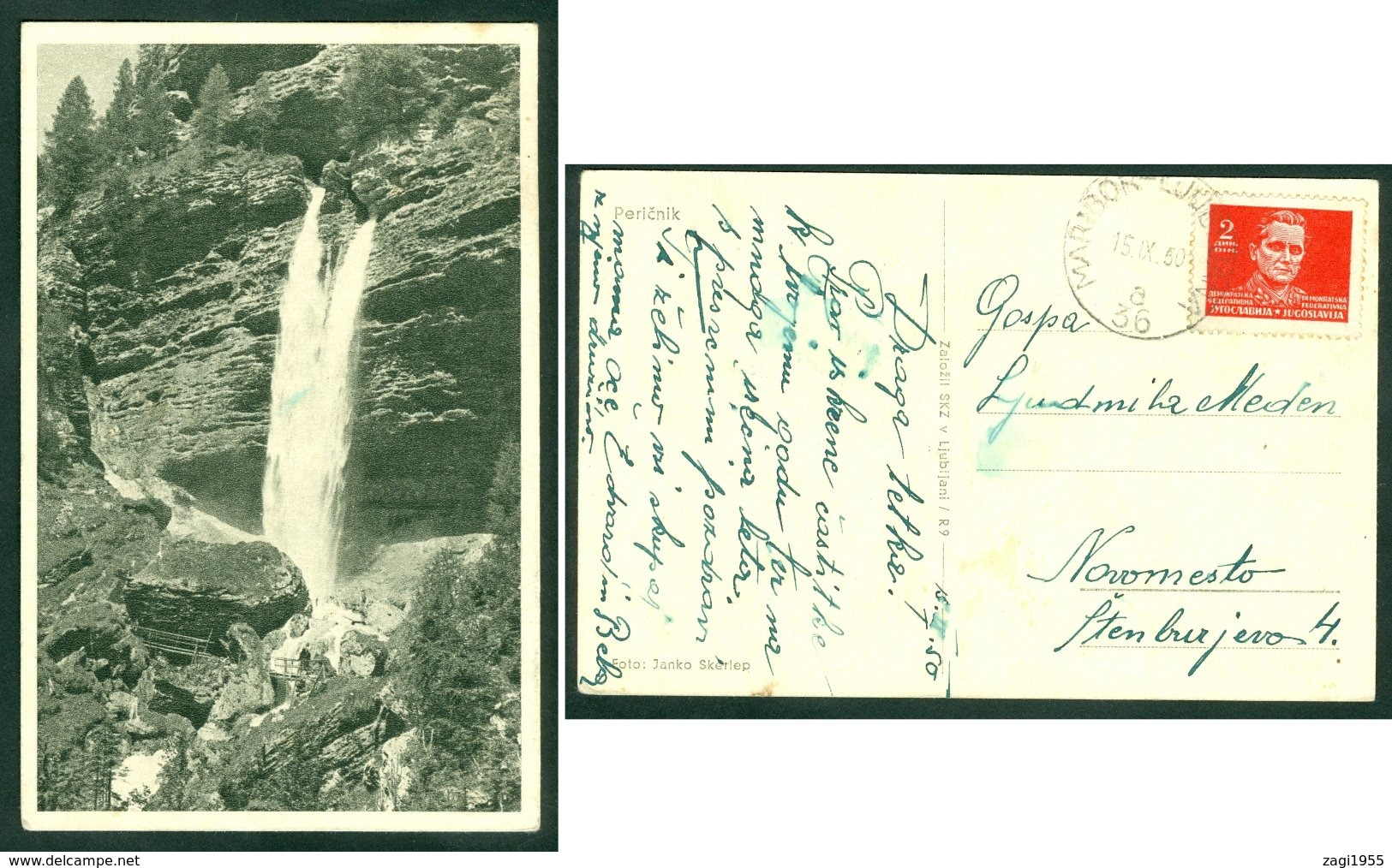 Yugoslavia 1950 Bahnpost Railway Mail Ambulance Post Maribor - Ljubljana 36 'a' Pericnik Waterfall Postcard Letter - 1945-1992 Socialist Federal Republic Of Yugoslavia