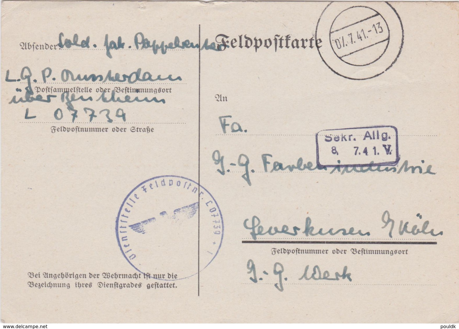German Feldpost WW2: From Hilversum In The Netherlands - I. Kompanie Flieger-Ausbildungs-Regiment 31 - Militaria