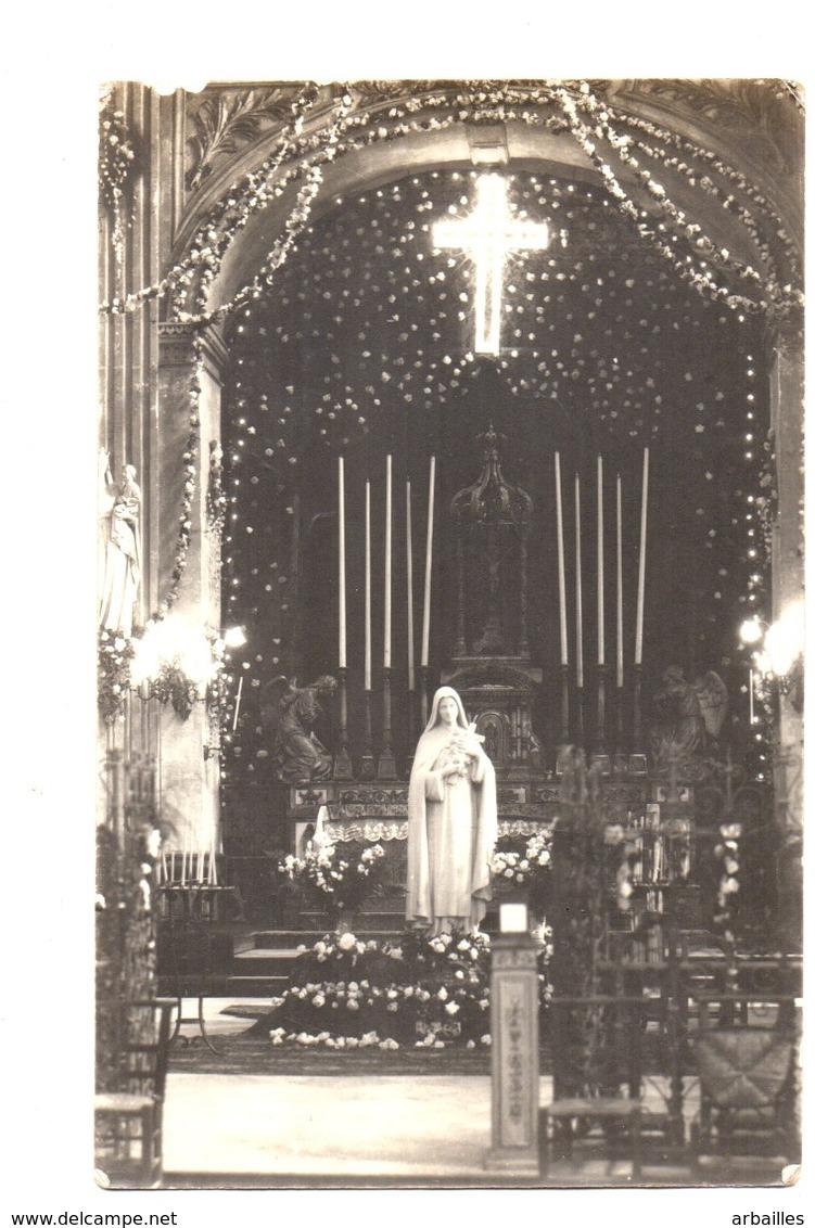 Bolbec. Vierge Et Interieur De L'Eglise. Carte Photo Demizieux. - Bolbec